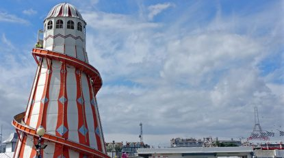 Clacton, UK. The Victorian Helter Skelter On The Pier. Still Providing Entertainment For Kids Of All Ages