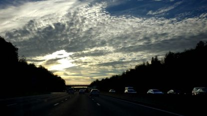 Surrey, UK. Moody Clouds On The Motorway At Sunset