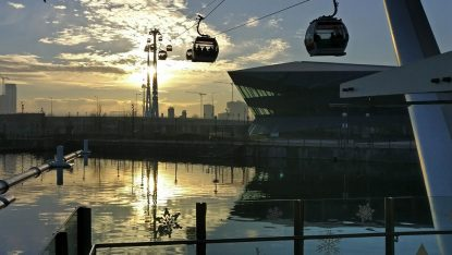London. The Emirates Cable Car Running From Albert Dock To The Grennwich Peninsular On A Crisp, But Sunny, Winter's Day